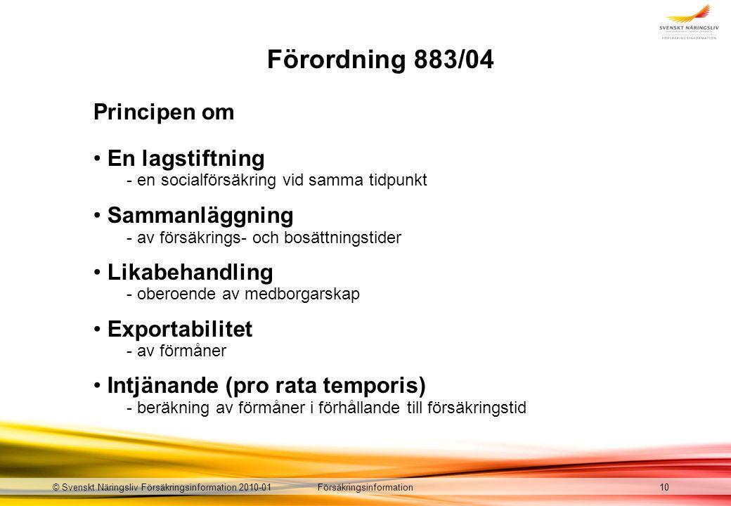 Försäkringsinformation© Svenskt Näringsliv Försäkringsinformation 2010-01 Förordning 883/04 10 Principen om En lagstiftning - en socialförsäkring vid samma tidpunkt Sammanläggning - av försäkrings- och bosättningstider Likabehandling - oberoende av medborgarskap Exportabilitet - av förmåner Intjänande (pro rata temporis) - beräkning av förmåner i förhållande till försäkringstid