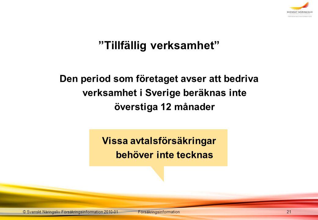 Försäkringsinformation© Svenskt Näringsliv Försäkringsinformation 2010-01 Tillfällig verksamhet Den period som företaget avser att bedriva verksamhet i Sverige beräknas inte överstiga 12 månader 21 Vissa avtalsförsäkringar behöver inte tecknas
