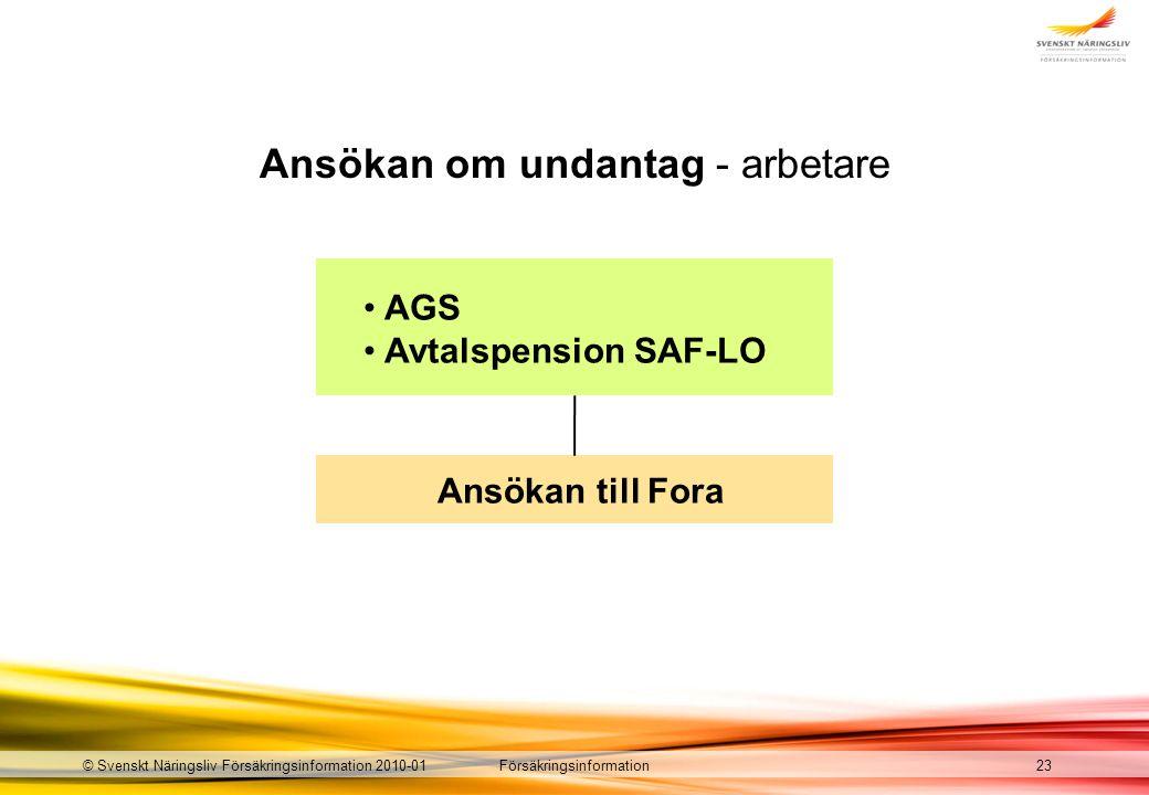 Försäkringsinformation© Svenskt Näringsliv Försäkringsinformation 2010-01 Ansökan om undantag - arbetare 23 AGS Avtalspension SAF-LO Ansökan till Fora