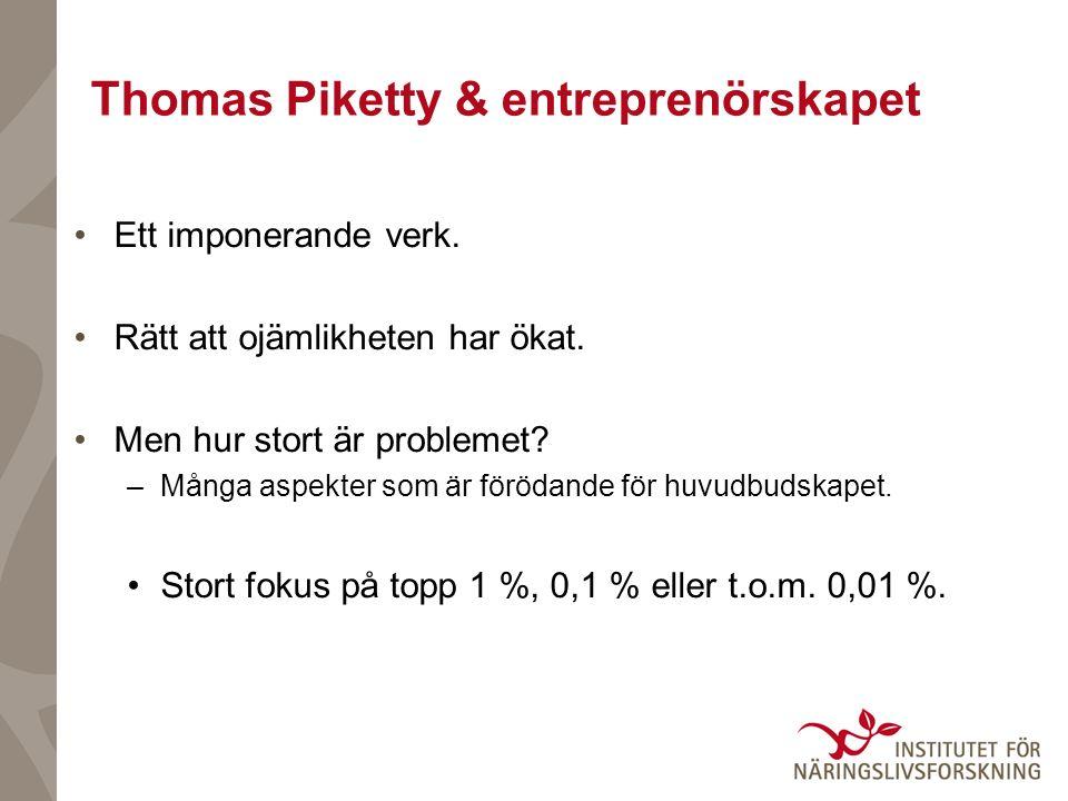Thomas Piketty & entreprenörskapet Ett imponerande verk. Rätt att ojämlikheten har ökat. Men hur stort är problemet? –Många aspekter som är förödande