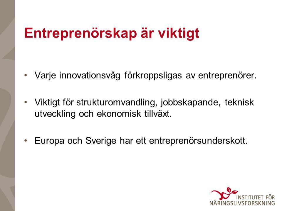 Entreprenörskap är viktigt Varje innovationsvåg förkroppsligas av entreprenörer. Viktigt för strukturomvandling, jobbskapande, teknisk utveckling och