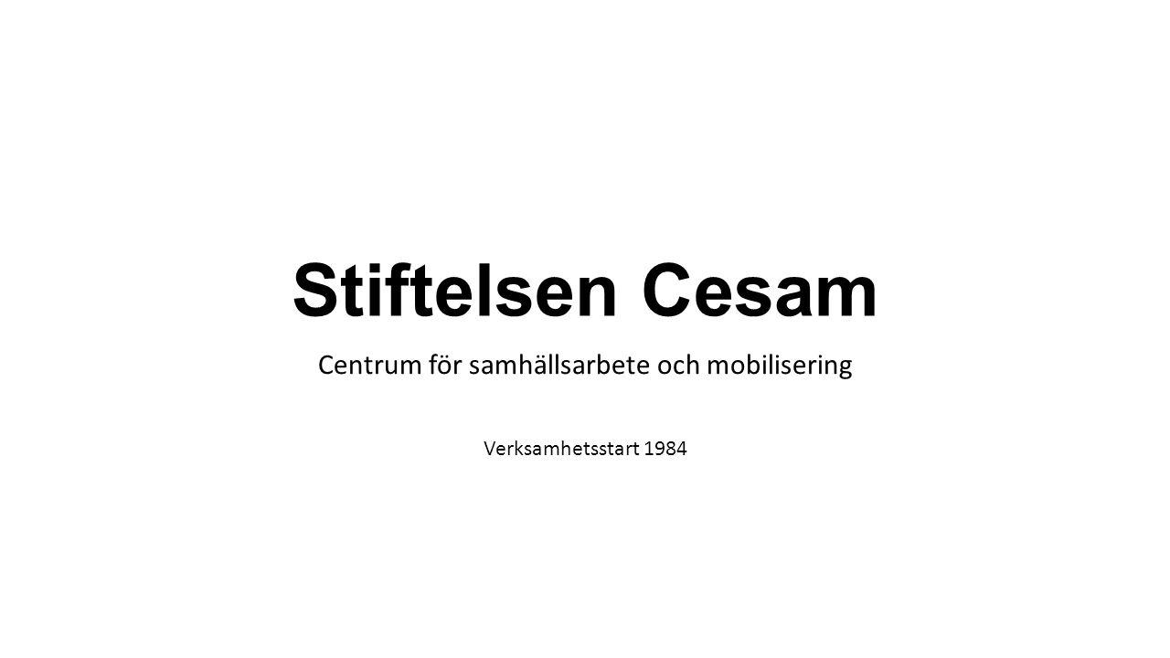 Stiftelsen Cesam Centrum för samhällsarbete och mobilisering Verksamhetsstart 1984