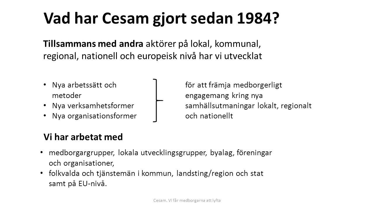 Cesam. Vi får medborgarna att lyfta Vad har Cesam gjort sedan 1984? Tillsammans med andra aktörer på lokal, kommunal, regional, nationell och europeis