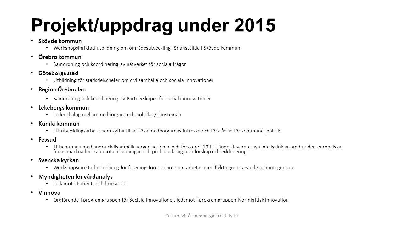 Projekt/uppdrag under 2015 Skövde kommun Workshopsinriktad utbildning om områdesutveckling för anställda i Skövde kommun Örebro kommun Samordning och
