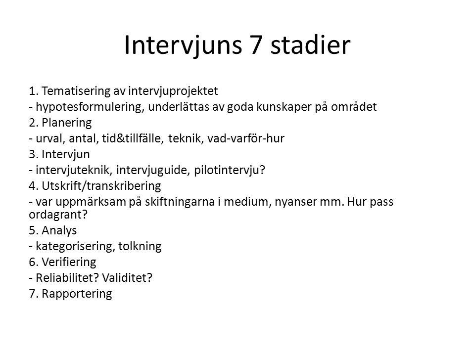 Intervjuns 7 stadier 1. Tematisering av intervjuprojektet - hypotesformulering, underlättas av goda kunskaper på området 2. Planering - urval, antal,
