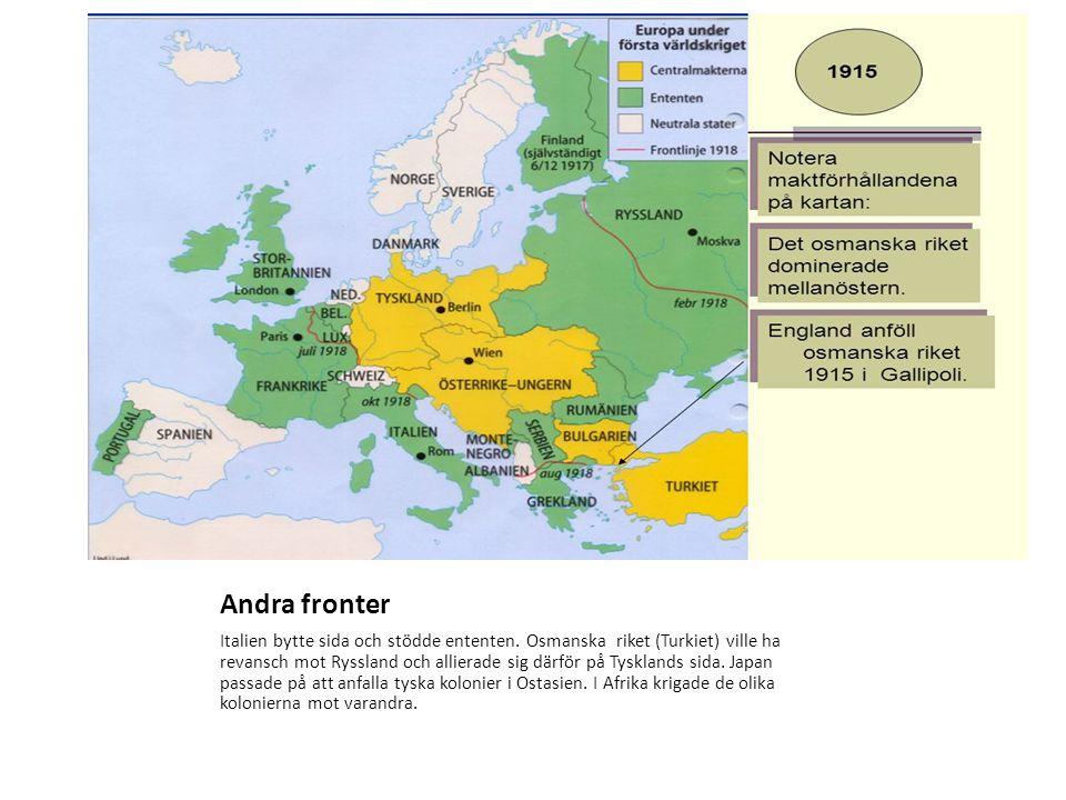 Andra fronter Italien bytte sida och stödde ententen.