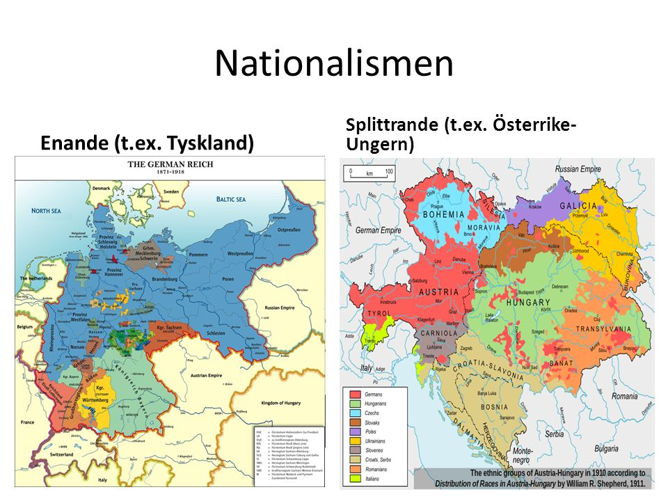 Nationalismen Enande (t.ex. Tyskland) Splittrande (t.ex. Österrike- Ungern)