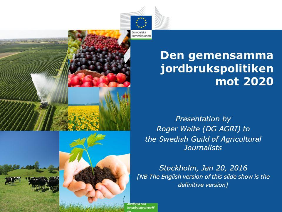 Ny utformning av direktstöd (Summary) 2015 kommer jordbrukarna inom EU att ha tillgång till: 22 ELLER Obligatoriska ordningar (alla medlemsstater): Ordning för grundstöd Grönt stöd* Stödordning för unga jordbrukare En förenklad ordning för småbrukare (frivilligt för medlemsstaterna) Frivilliga ordningar (medlemsstaternas beslut): Kopplat stöd Stöd i områden med naturliga begränsningar Omfördelningsstöd (+) * Stöd för jordbruksmetoder som gagnar klimatet och miljön Alla stöd omfattas av tvärvillkor Alla jordbrukare kommer att få tillgång till jordbruksrådgivning