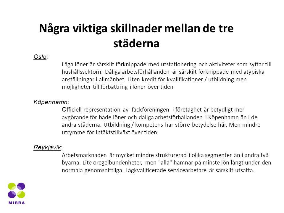 Oslo: Låga löner är särskilt förknippade med utstationering och aktiviteter som syftar till hushållssektorn.