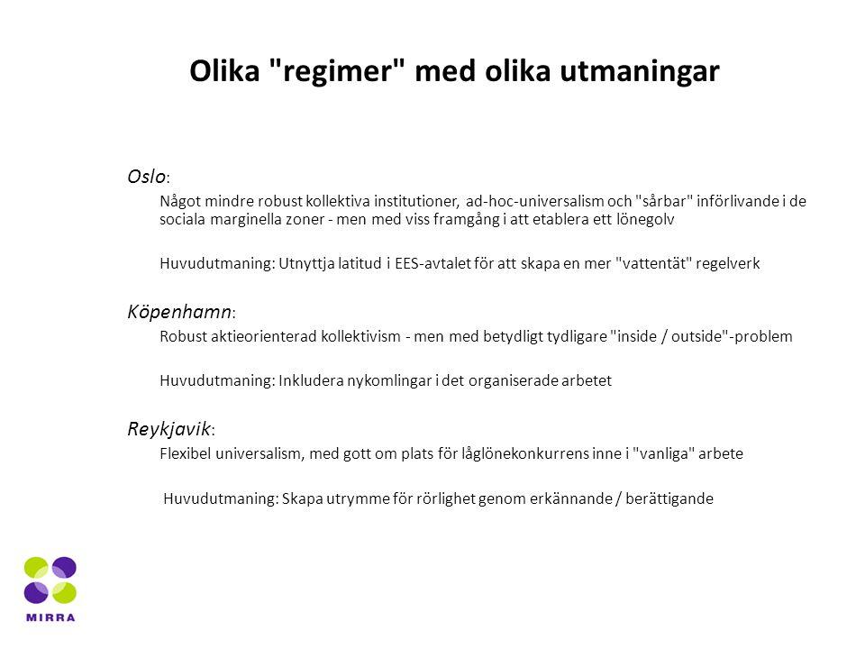 Oslo : Något mindre robust kollektiva institutioner, ad-hoc-universalism och sårbar införlivande i de sociala marginella zoner - men med viss framgång i att etablera ett lönegolv Huvudutmaning: Utnyttja latitud i EES-avtalet för att skapa en mer vattentät regelverk Köpenhamn : Robust aktieorienterad kollektivism - men med betydligt tydligare inside / outside -problem Huvudutmaning: Inkludera nykomlingar i det organiserade arbetet Reykjavik : Flexibel universalism, med gott om plats för låglönekonkurrens inne i vanliga arbete Huvudutmaning: Skapa utrymme för rörlighet genom erkännande / berättigande Olika regimer med olika utmaningar