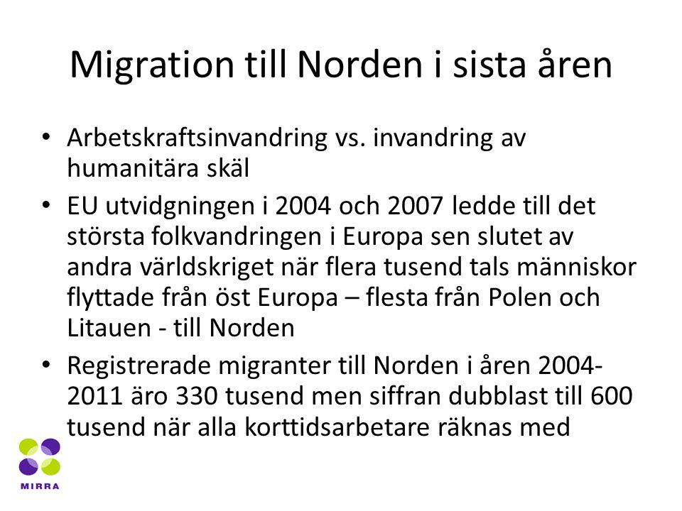 Migration till Norden i sista åren Arbetskraftsinvandring vs.