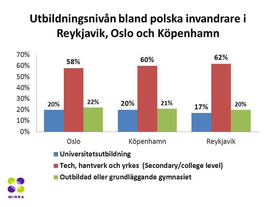 Utbildningsnivån bland polska invandrare i Reykjavik, Oslo och Köpenhamn