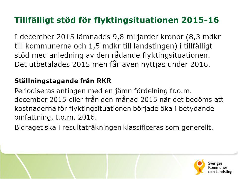 Tillfälligt stöd för flyktingsituationen 2015-16 I december 2015 lämnades 9,8 miljarder kronor (8,3 mdkr till kommunerna och 1,5 mdkr till landstingen) i tillfälligt stöd med anledning av den rådande flyktingsituationen.