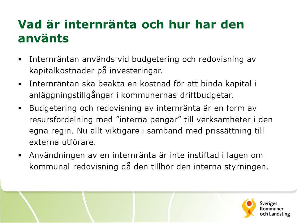 Vad är internränta och hur har den använts  Internräntan används vid budgetering och redovisning av kapitalkostnader på investeringar.