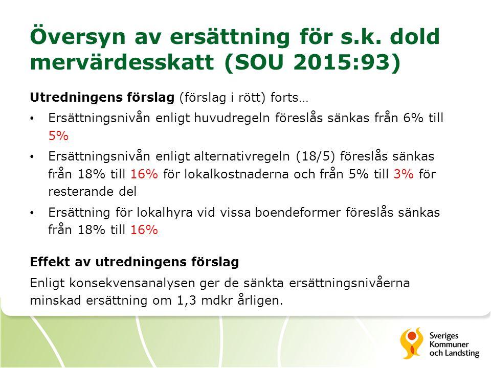 Översyn av ersättning för s.k. dold mervärdesskatt (SOU 2015:93) Utredningens förslag (förslag i rött) forts… Ersättningsnivån enligt huvudregeln före