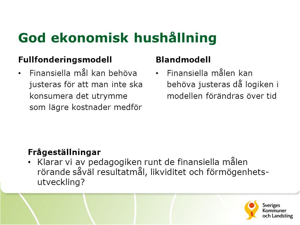 God ekonomisk hushållning Fullfonderingsmodell Finansiella mål kan behöva justeras för att man inte ska konsumera det utrymme som lägre kostnader medför Blandmodell Finansiella målen kan behöva justeras då logiken i modellen förändras över tid Frågeställningar Klarar vi av pedagogiken runt de finansiella målen rörande såväl resultatmål, likviditet och förmögenhets- utveckling?