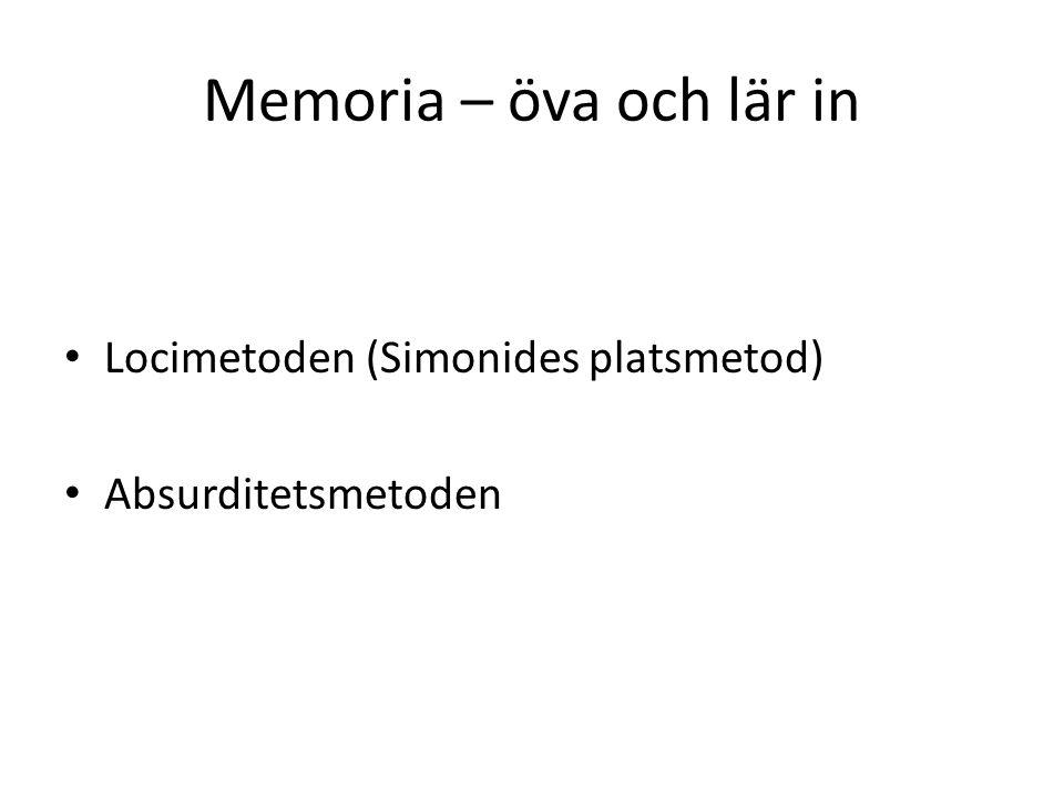 Memoria – öva och lär in Locimetoden (Simonides platsmetod) Absurditetsmetoden