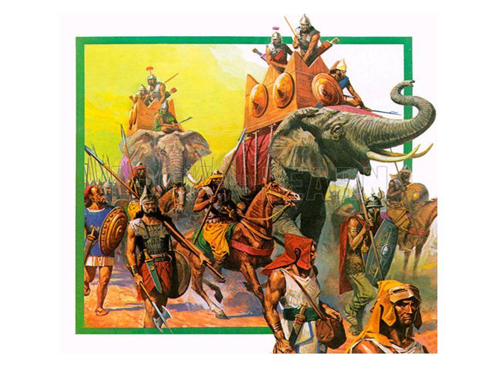 Världsväldet Romarna krigade även mot kartagerna (Kartago, dagens Tunisien) En av kartagernas befälhavare hette Hannibal Hannibal använde elefanter i sin armé I fjorton år drog Hannibal runt i Italien med sin armé – lyckades aldrig erövra Rom Romarna angrep istället staden Kartago och vann Romarna erövrade även Grekland – under 600 år växte romarnas rike År 117 e Kr.