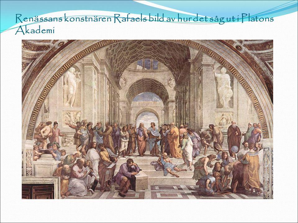Renässans konstnären Rafaels bild av hur det såg ut i Platons Akademi