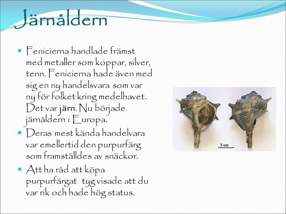 Järnåldern Fenicierna handlade främst med metaller som koppar, silver, tenn.
