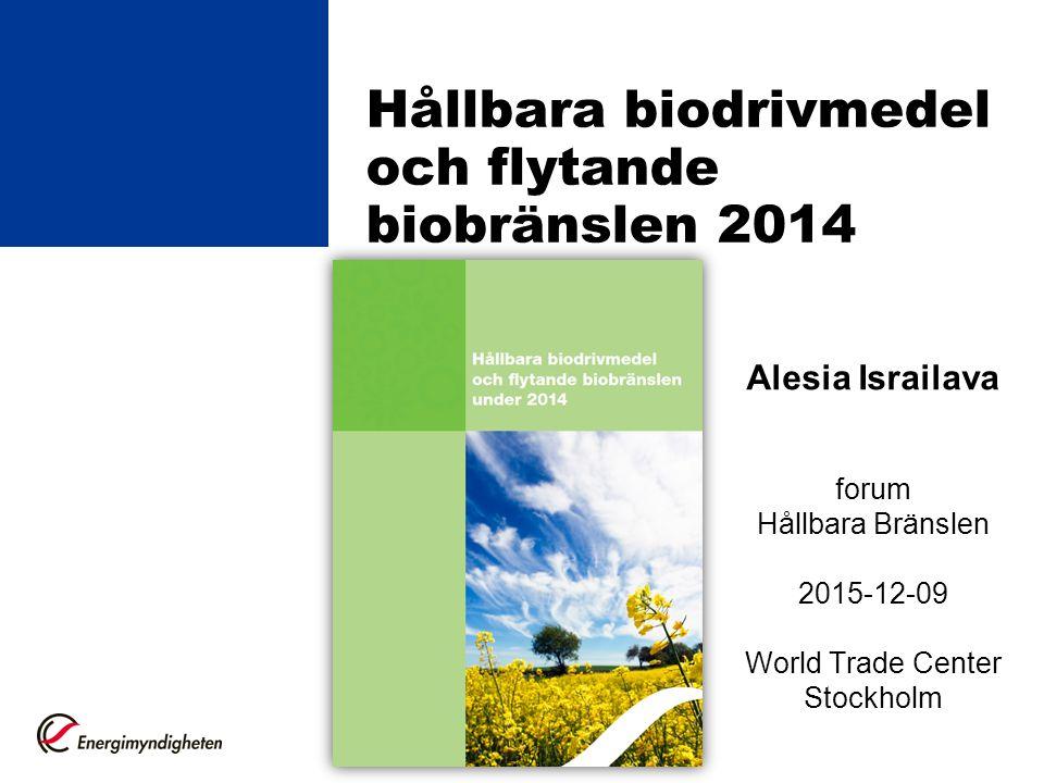 Hållbara biodrivmedel och flytande biobränslen 2014 Alesia Israilava forum Hållbara Bränslen 2015-12-09 World Trade Center Stockholm