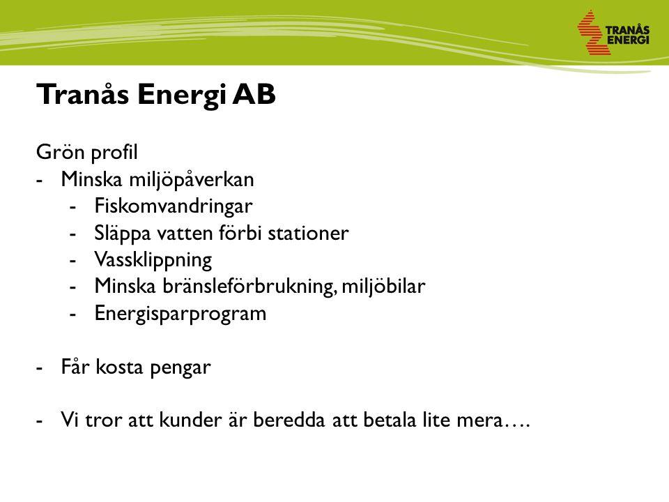 Tranås Energi AB Grön profil -Minska miljöpåverkan -Fiskomvandringar -Släppa vatten förbi stationer -Vassklippning -Minska bränsleförbrukning, miljöbilar -Energisparprogram -Får kosta pengar -Vi tror att kunder är beredda att betala lite mera….
