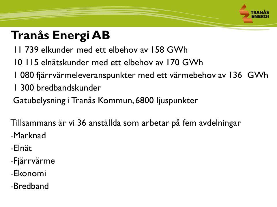 Tranås Energi AB 11 739 elkunder med ett elbehov av 158 GWh 10 115 elnätskunder med ett elbehov av 170 GWh 1 080 fjärrvärmeleveranspunkter med ett värmebehov av 136 GWh 1 300 bredbandskunder Gatubelysning i Tranås Kommun, 6800 ljuspunkter Tillsammans är vi 36 anställda som arbetar på fem avdelningar -Marknad -Elnät -Fjärrvärme -Ekonomi -Bredband