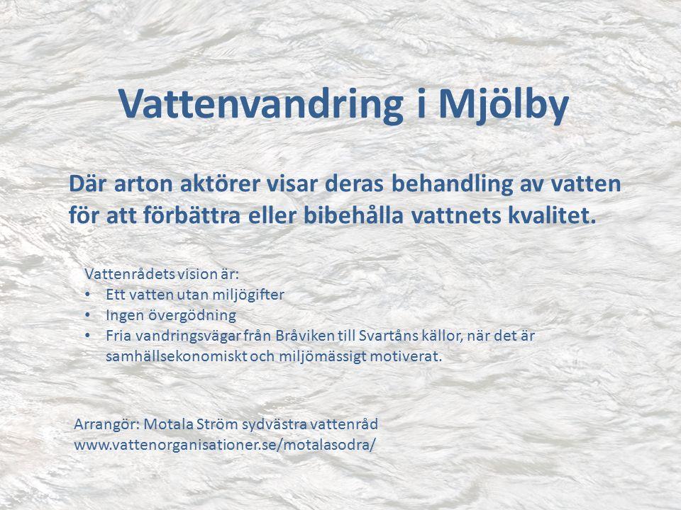 Vattenvandring i Mjölby Där arton aktörer visar deras behandling av vatten för att förbättra eller bibehålla vattnets kvalitet.