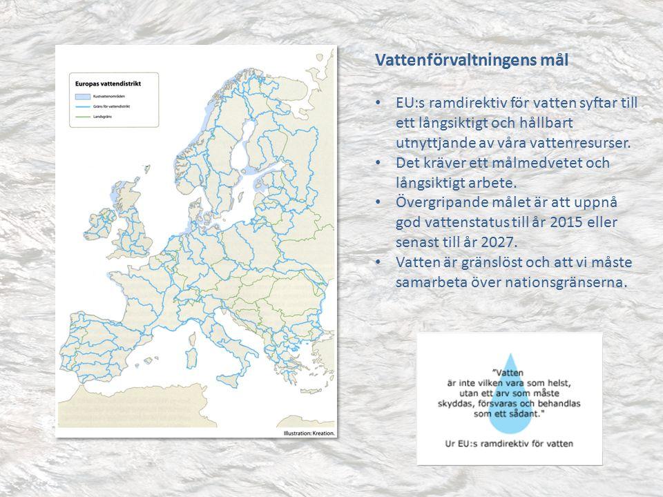 Vattenförvaltningens mål EU:s ramdirektiv för vatten syftar till ett långsiktigt och hållbart utnyttjande av våra vattenresurser.