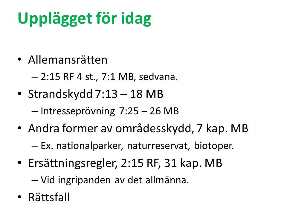 Upplägget för idag Allemansrätten – 2:15 RF 4 st., 7:1 MB, sedvana.