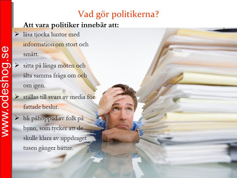 www.odeshog.se Vad gör politikerna?  läsa tjocka luntor med information om stort och smått.  sitta på långa möten och älta samma fråga om och om ige