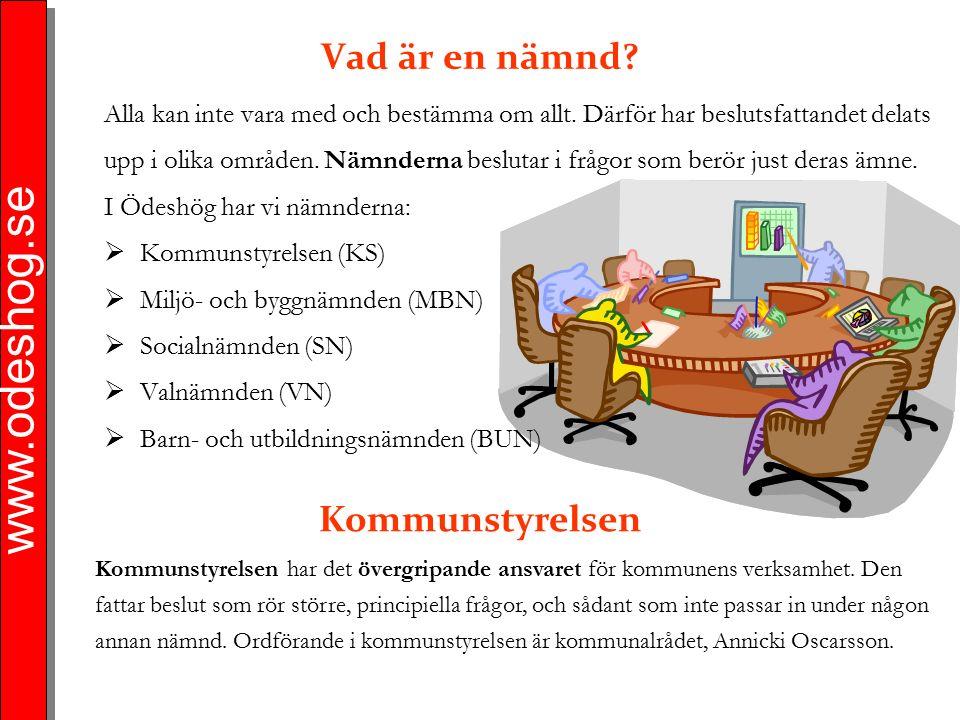 www.odeshog.se Vad är en nämnd? Alla kan inte vara med och bestämma om allt. Därför har beslutsfattandet delats upp i olika områden. Nämnderna besluta