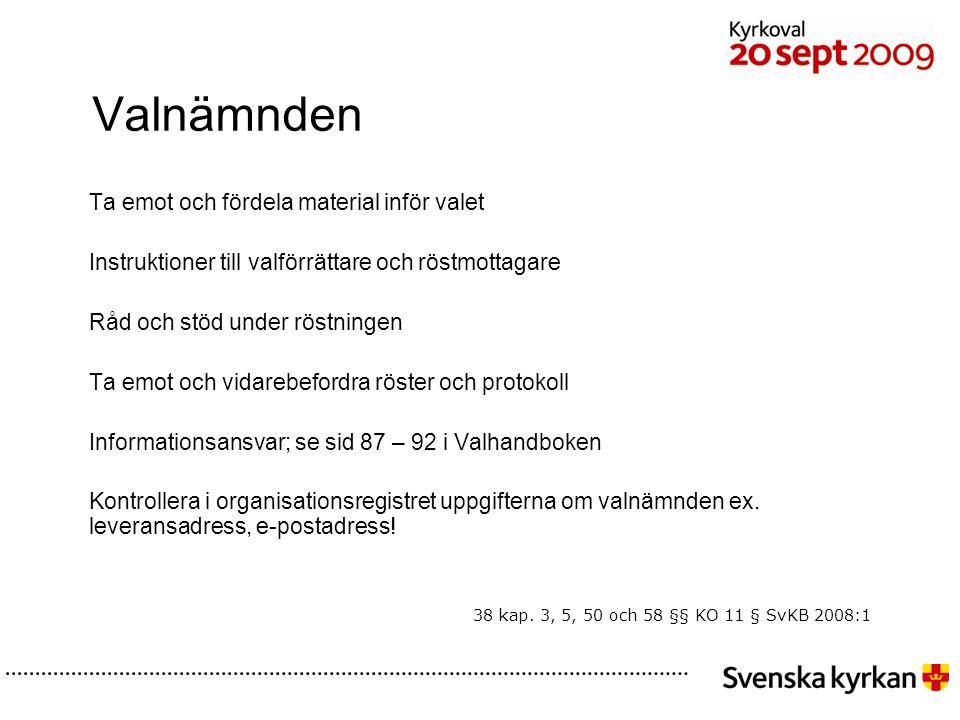 43 Kyrkoval 2009 Olika roller - på valdagen Nomineringsgrupper: Möter väljare Utanför vallokalen De ska inte agera i vallokalen eller vid den plats där valsedlar ligger utlagda.