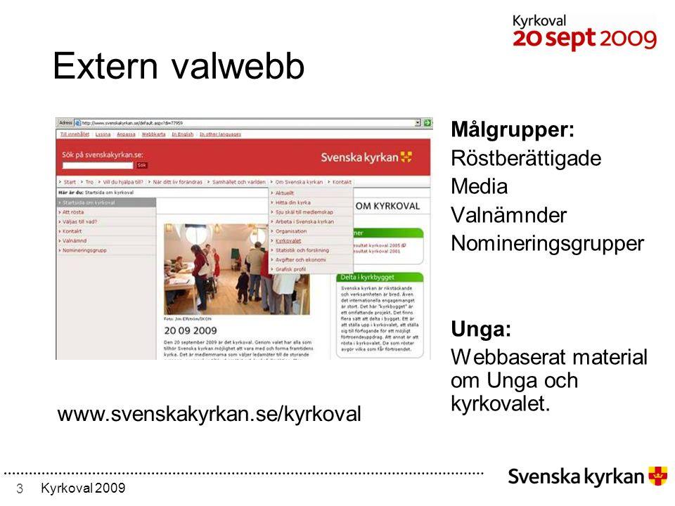 3 Kyrkoval 2009 Extern valwebb Målgrupper: Röstberättigade Media Valnämnder Nomineringsgrupper Unga: Webbaserat material om Unga och kyrkovalet.