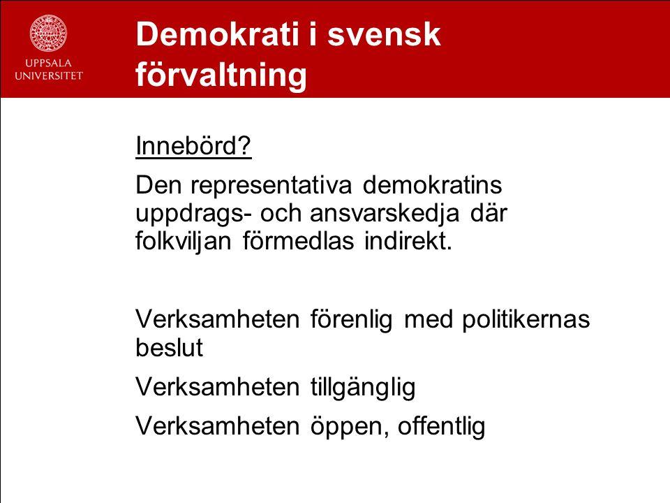 Demokrati i svensk förvaltning Innebörd? Den representativa demokratins uppdrags- och ansvarskedja där folkviljan förmedlas indirekt. Verksamheten för