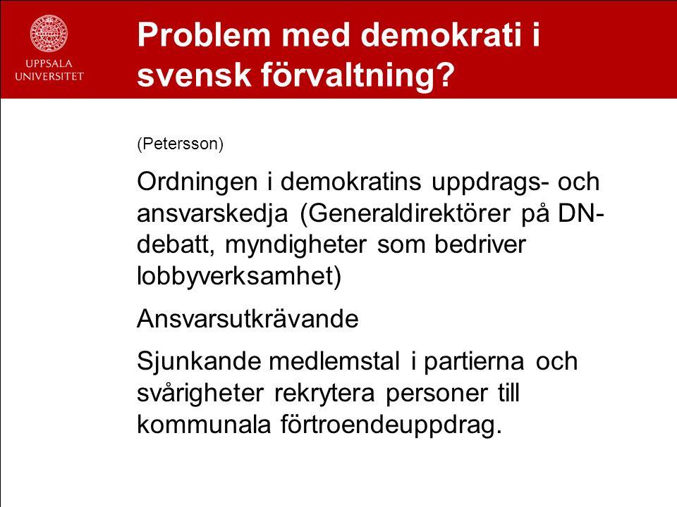 Problem med demokrati i svensk förvaltning? (Petersson) Ordningen i demokratins uppdrags- och ansvarskedja (Generaldirektörer på DN- debatt, myndighet