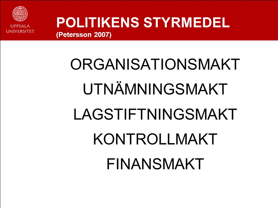 POLITIKENS STYRMEDEL (Petersson 2007) ORGANISATIONSMAKT UTNÄMNINGSMAKT LAGSTIFTNINGSMAKT KONTROLLMAKT FINANSMAKT