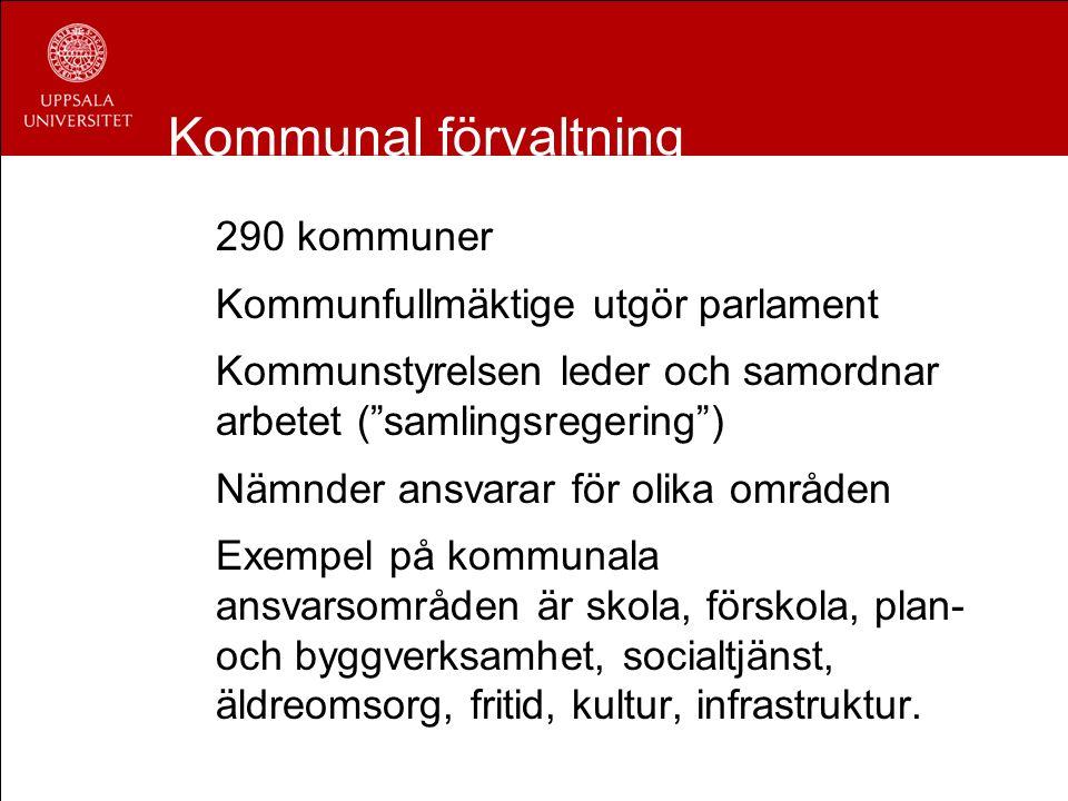 """Kommunal förvaltning 290 kommuner Kommunfullmäktige utgör parlament Kommunstyrelsen leder och samordnar arbetet (""""samlingsregering"""") Nämnder ansvarar"""