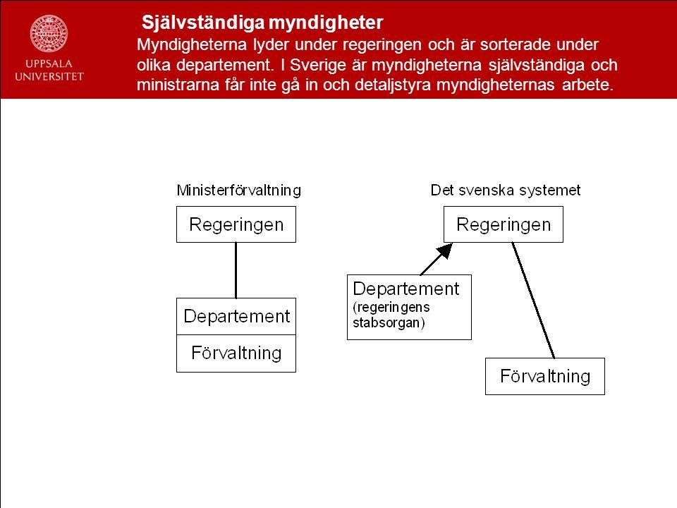 Självständiga myndigheter Myndigheterna lyder under regeringen och är sorterade under olika departement. I Sverige är myndigheterna självständiga och