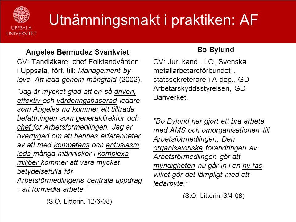 Utnämningsmakt i praktiken: AF Angeles Bermudez Svankvist CV: Tandläkare, chef Folktandvården i Uppsala, förf. till: Management by love. Att leda geno