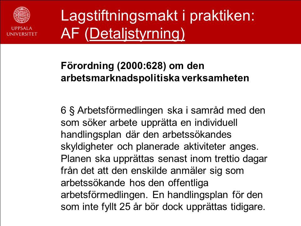 Lagstiftningsmakt i praktiken: AF (Detaljstyrning) Förordning (2000:628) om den arbetsmarknadspolitiska verksamheten 6 § Arbetsförmedlingen ska i samr