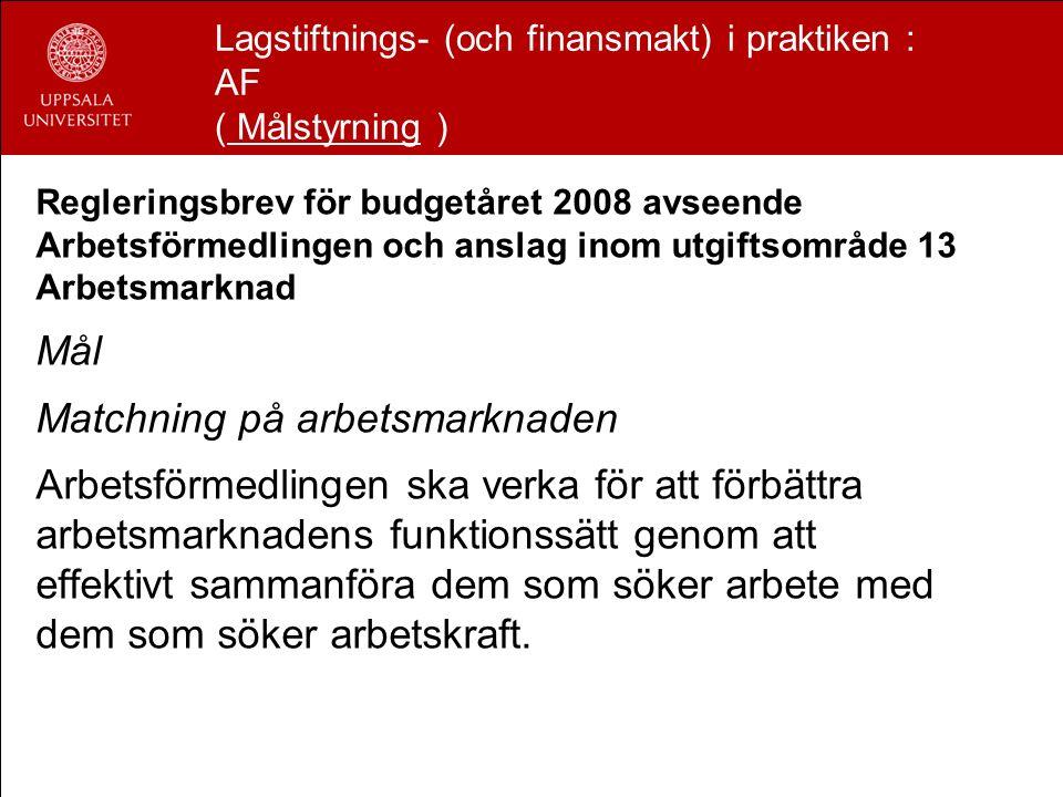 Lagstiftnings- (och finansmakt) i praktiken : AF ( Målstyrning ) Regleringsbrev för budgetåret 2008 avseende Arbetsförmedlingen och anslag inom utgift
