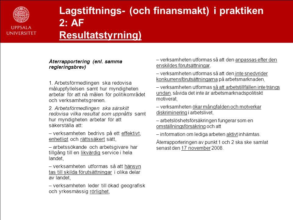 Lagstiftnings- (och finansmakt) i praktiken 2: AF Resultatstyrning) Återrapportering (enl. samma regleringsbrev) 1. Arbetsförmedlingen ska redovisa må