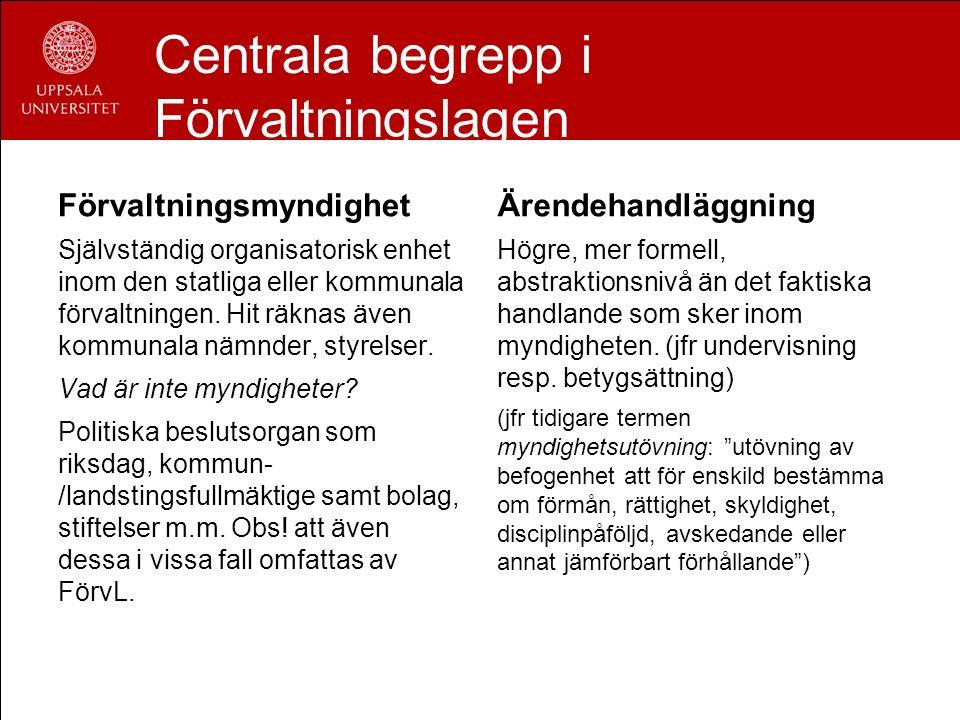 Centrala begrepp i Förvaltningslagen Förvaltningsmyndighet Självständig organisatorisk enhet inom den statliga eller kommunala förvaltningen. Hit räkn