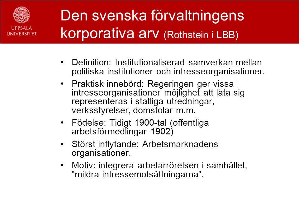 Den svenska förvaltningens korporativa arv (Rothstein i LBB) Definition: Institutionaliserad samverkan mellan politiska institutioner och intresseorga