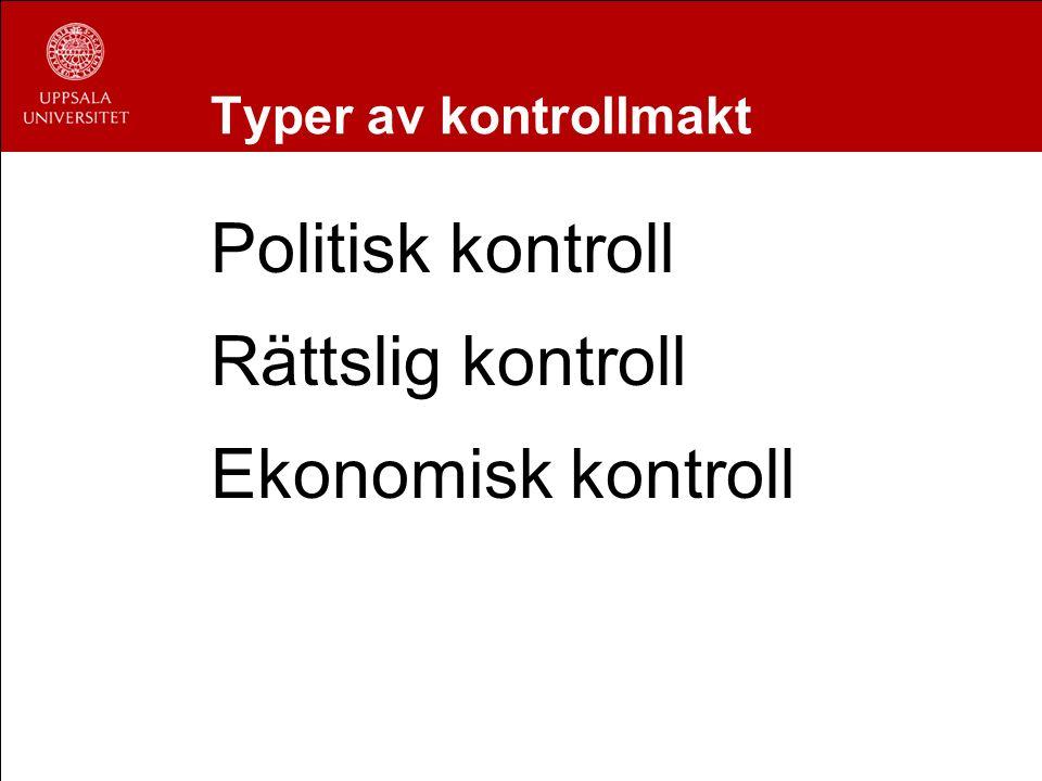 Typer av kontrollmakt Politisk kontroll Rättslig kontroll Ekonomisk kontroll