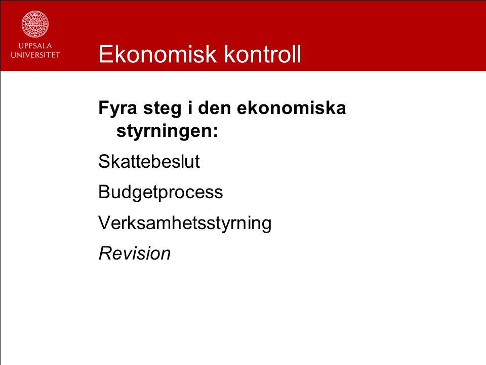 Ekonomisk kontroll Fyra steg i den ekonomiska styrningen: Skattebeslut Budgetprocess Verksamhetsstyrning Revision