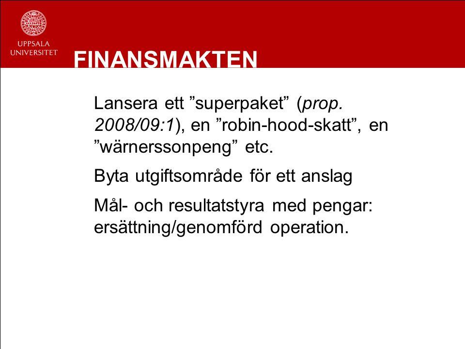 """FINANSMAKTEN Lansera ett """"superpaket"""" (prop. 2008/09:1), en """"robin-hood-skatt"""", en """"wärnerssonpeng"""" etc. Byta utgiftsområde för ett anslag Mål- och re"""