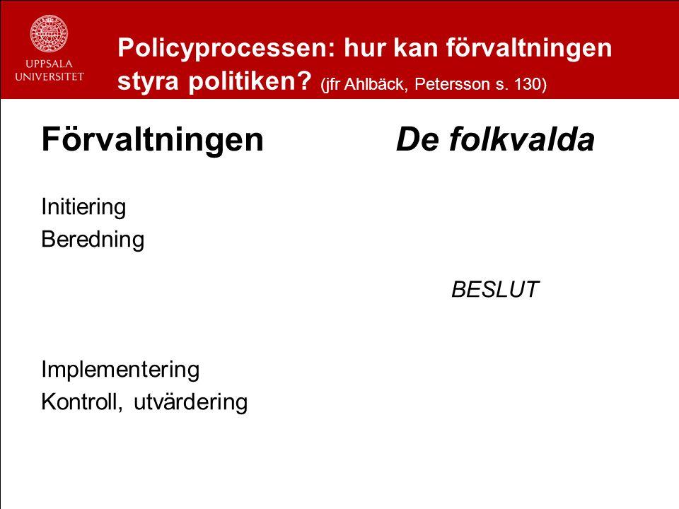Policyprocessen: hur kan förvaltningen styra politiken? (jfr Ahlbäck, Petersson s. 130) Förvaltningen Initiering Beredning Implementering Kontroll, ut