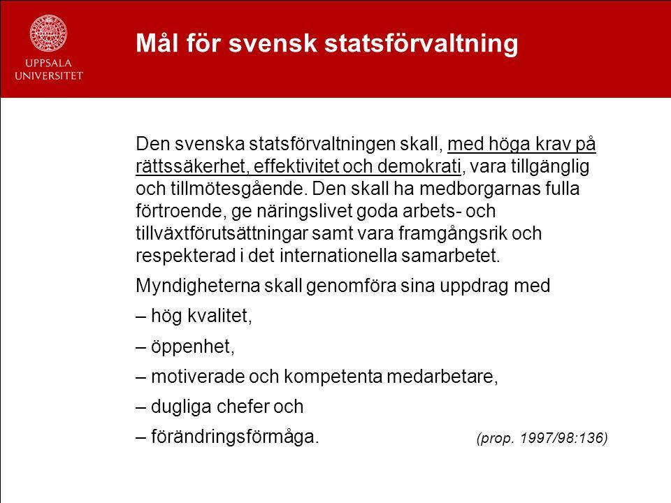 Mål för svensk statsförvaltning Den svenska statsförvaltningen skall, med höga krav på rättssäkerhet, effektivitet och demokrati, vara tillgänglig och